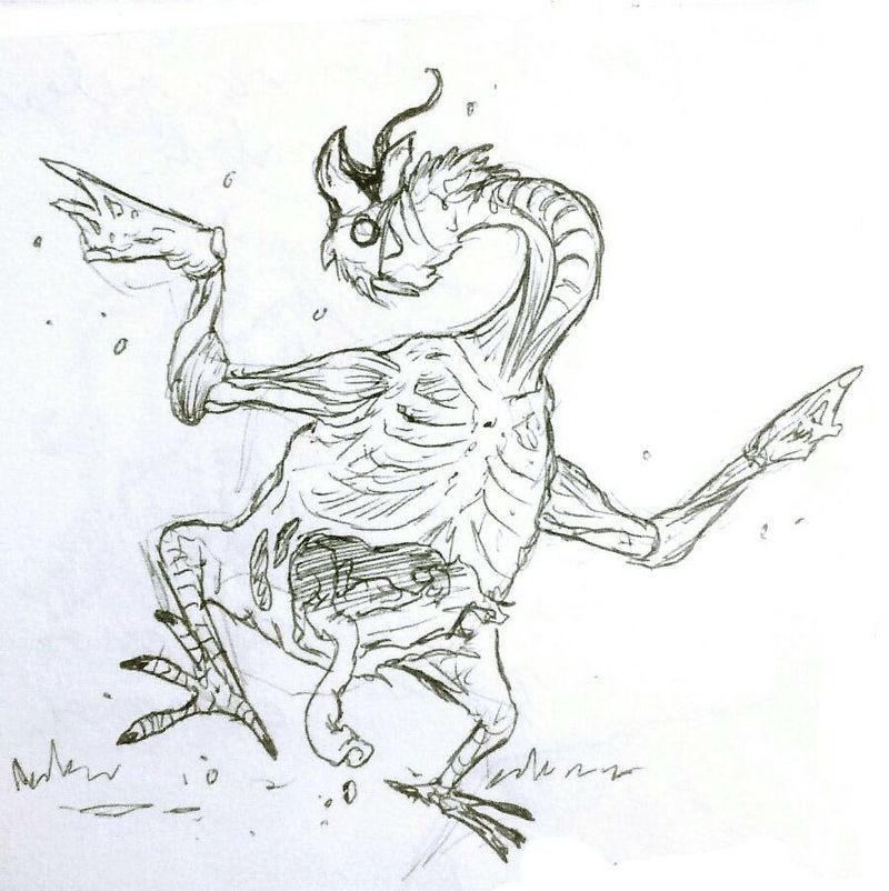 El caballero lleva consigo lo que parece ser una orden de captura de una criatura en la que aparece esta imagen...