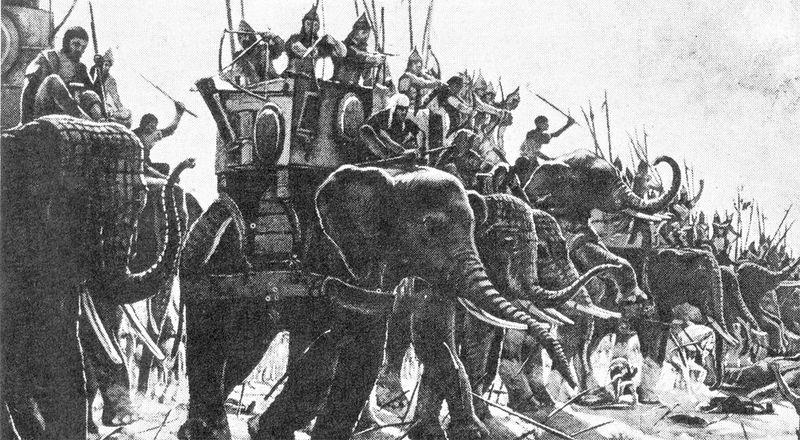 ¿ Cual era una de las armas más efectivas contra un ataque por parte de elefantes de guerra ?