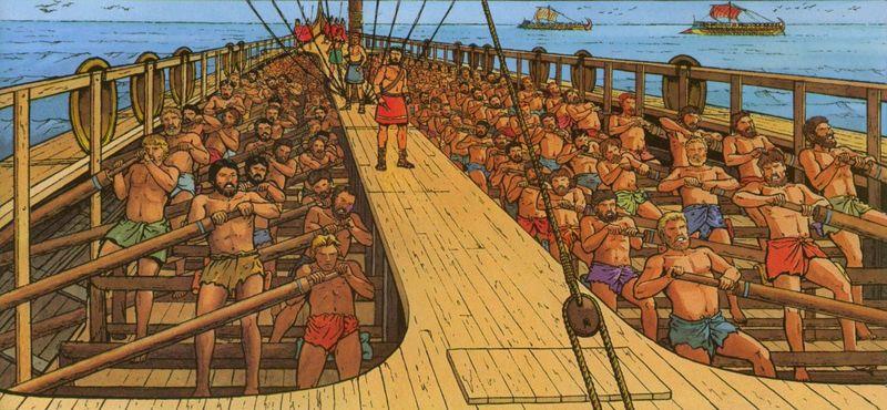 ¿ Que navío constituía la base de las flotas romanas ?