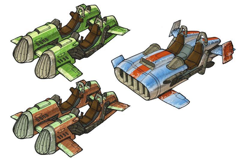 ¿Cómo se llaman los vehículos biplaza que hay por Villa Refugio en Jak II?