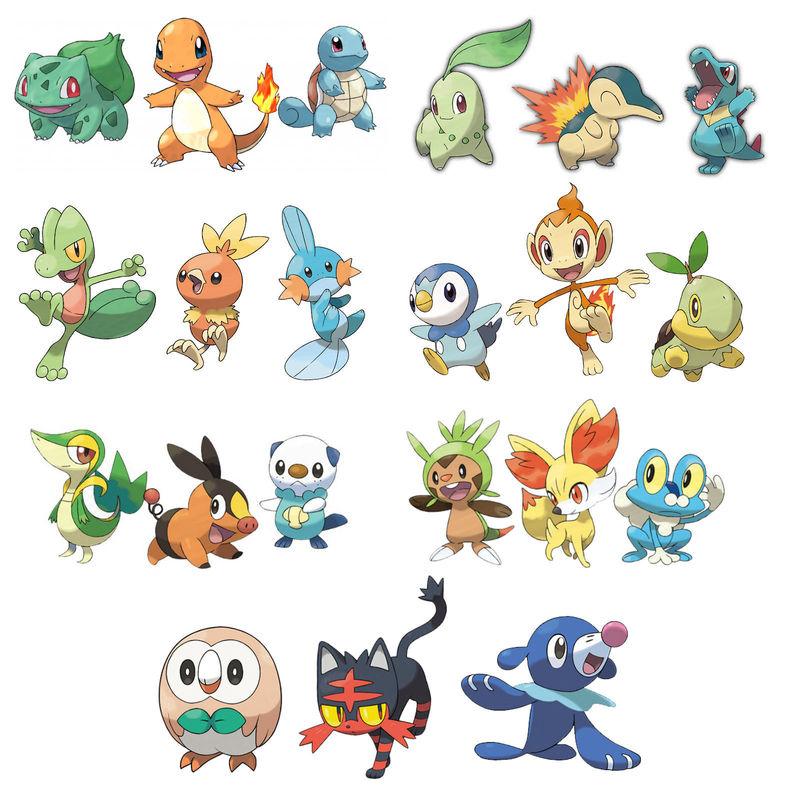 Pokémon iniciales (y evoluciones)