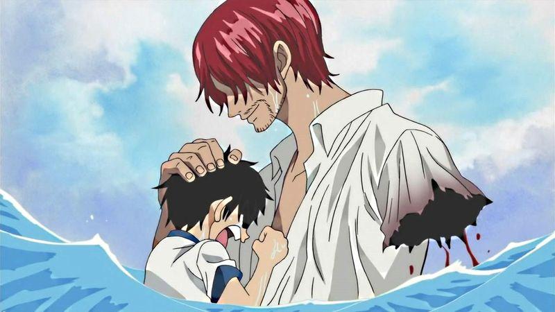 Shanks salva a Luffy del rey del mar perdiendo un brazo en la hazaña.