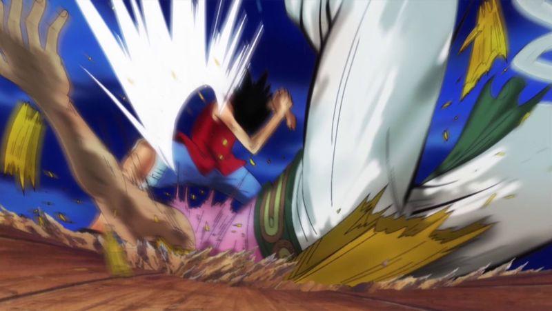 Luffy derrota a Bellamy tras dar este una paliza a Mond Blanck Criket y reirse de los sueños de Luffy.