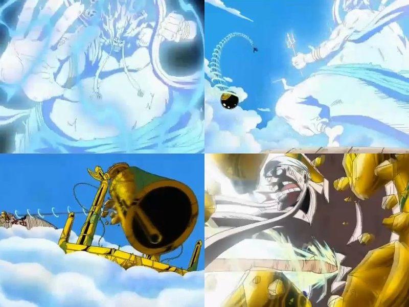 Luffy derrota al Todopoderoso Dios Enel y hace sonar la campana dorada.