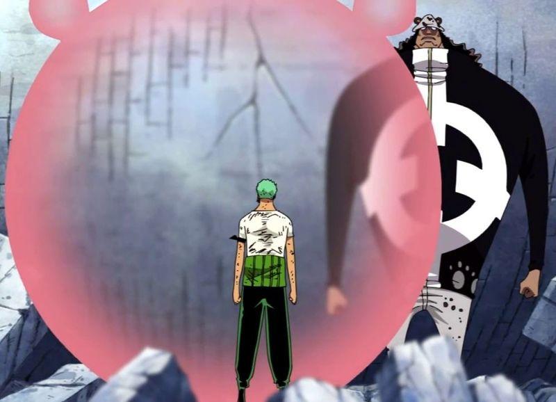El sacrificio de Zoro (intento de Sanji) al absorber el daño de Luffy para evitar que Kuma Matara a su Capitan.
