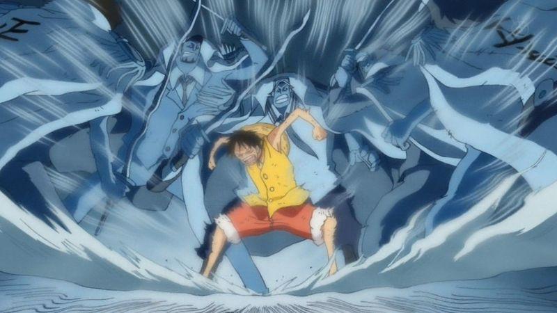 Luffy usa Haoshoku haki en Marine Ford