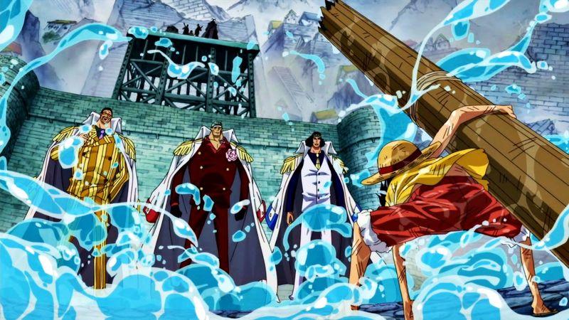 Luffy contra los 3 almirantes