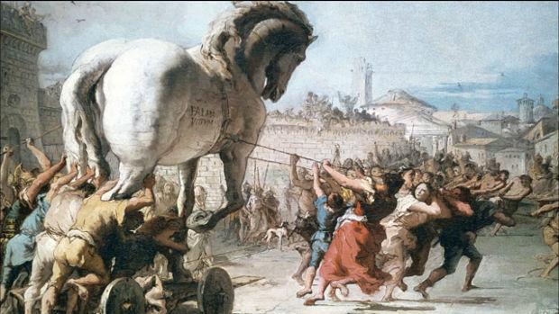 ¿En qué ciudad ocurre la historia del Caballo de Troya como se describe en la