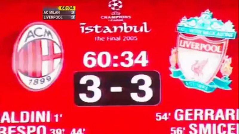 2005: AC Milan 3 (2) Liverpool 3 (3). ¿Qué equipo dejó Liverpool en el camino en semifinales?