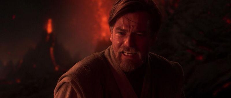 Obi-Wan deja a su aprendiz Anakin abandonado quemándose