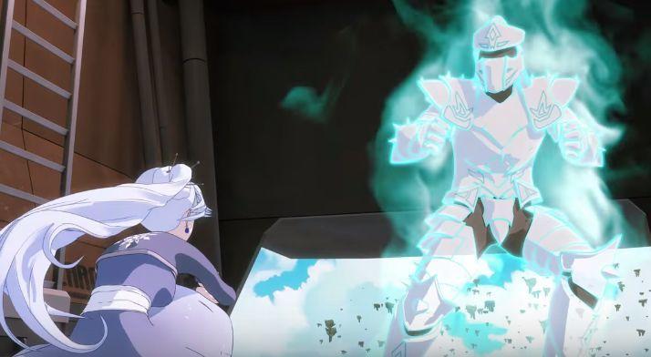 ¿Qué canción suena de fondo cuando Weiss invoca a su caballero para derrotar a la Lancer Reina?