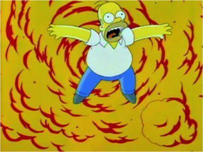 Como se puede observar, Homer está volando por los aires debido a una explosión pero, ¿sabes de que capítulo se trata?