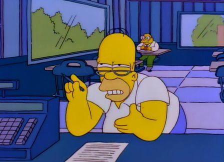 ¿Qué está haciendo Homer en esta escena?