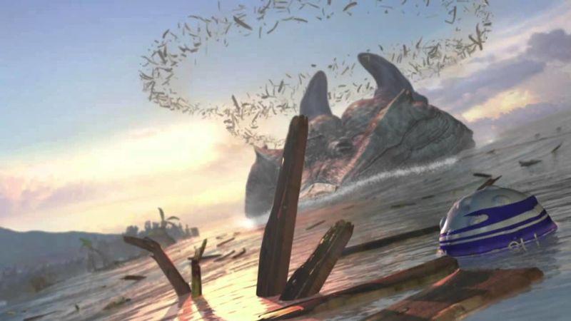 ¿Qué poblado destruye el monstruo tras atacar el barco donde viajaban Tidus y compañía?